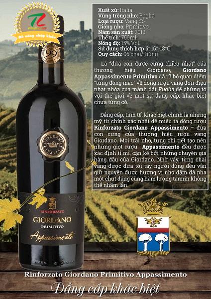 rượu vang Giordano Primitivo Appassimento 2015
