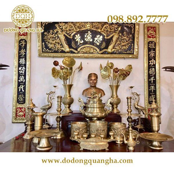 Đồ thờ cúng bằng đồng phù hợp với không gian thờ cúng linh thiêng