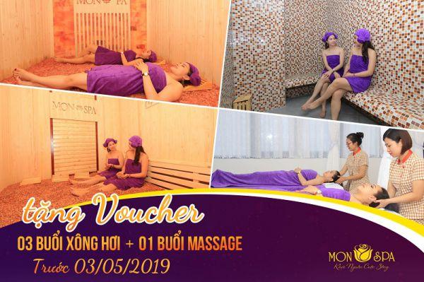 voucher tặng 3 buổi xông hơi + 1 buổi massage