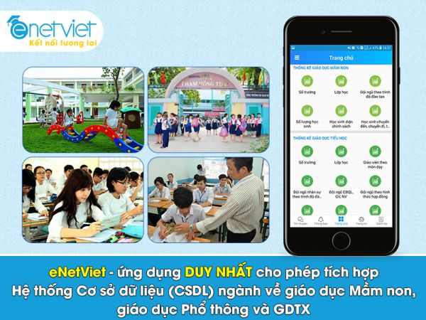 eNetViet là ứng dụng duy nhất cho phép tích hợp Hệ thống Cơ sở dữ liệu (CSDL) ngành về giáo dục Mầm non, giáo dục Phổ thông và GDTX