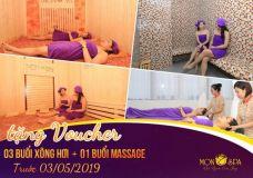 """Khuyến mãi """"khủng"""" 30/4 - 1/5 - Tặng Voucher miễn phí 03 buổi xông hơi + 01 buổi massage tại Mon spa"""