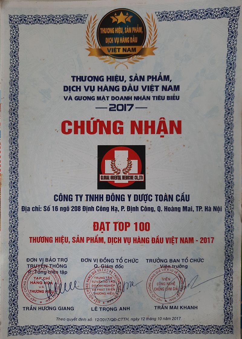 Đông y dược Toàn Cầu - TOP 100 Thương hiệu, Sản Phẩm, Dịch vụ hàng đầu Việt Nam 2017